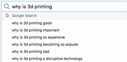Google search for 3D printing