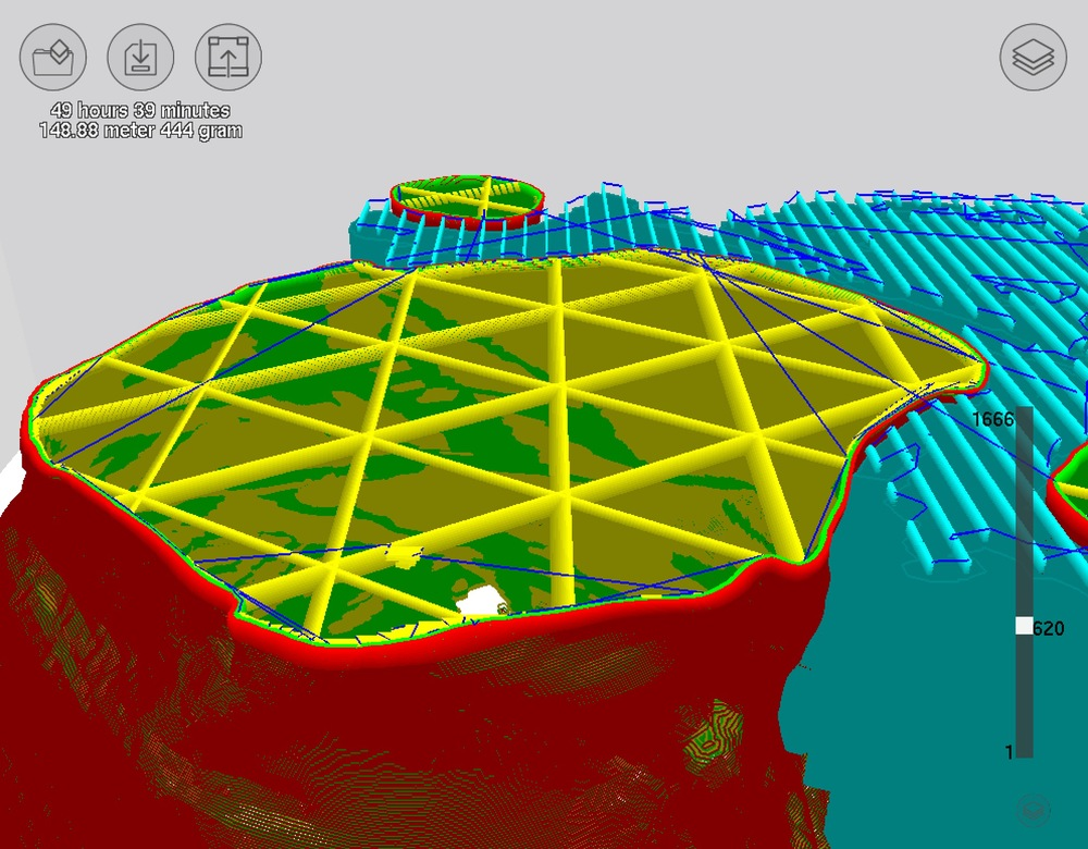 A view of Type A Machine's CURA software developing interior 3D cubes for strength