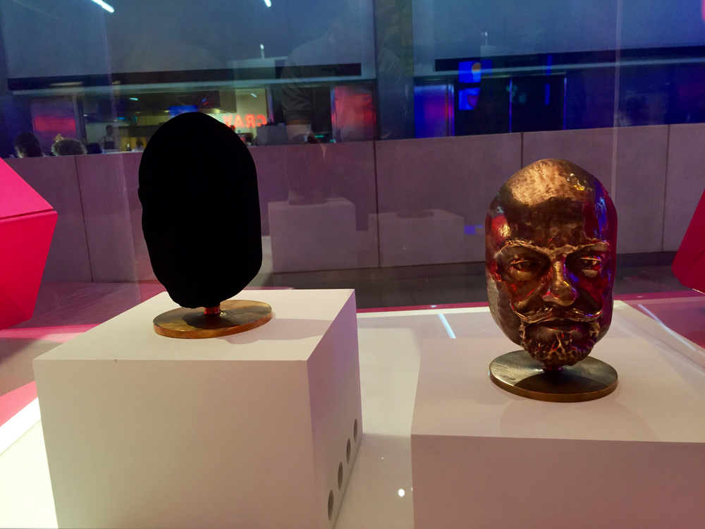 Two identical sculptures, one coated with Vantablack, the world's darkest material (on the left, obviously)