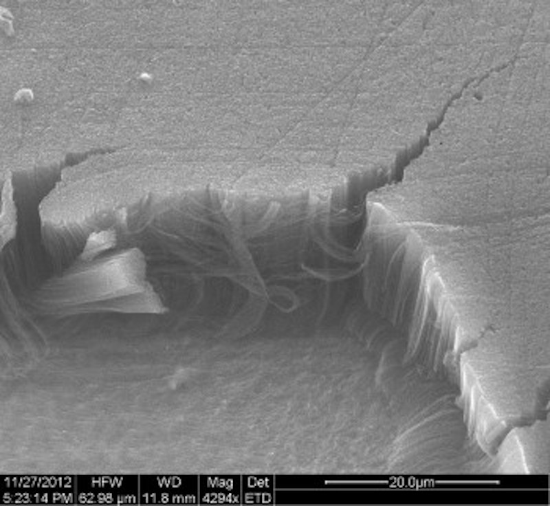 A microscopic view of a Vantablack coating, showing vertical nanotubes