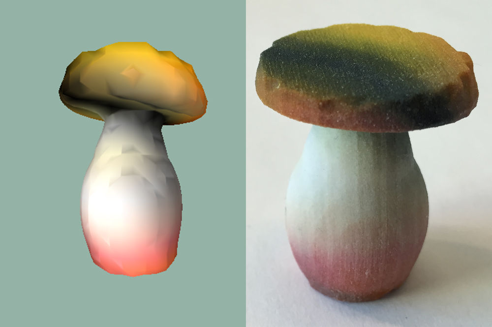 A 3D printed mushroom, whose design was entirely devised by an A.I.