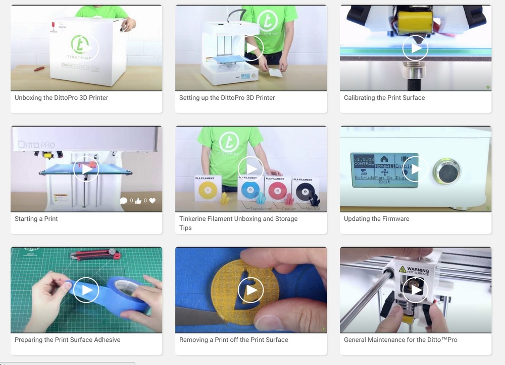 Tinkerine U video selection