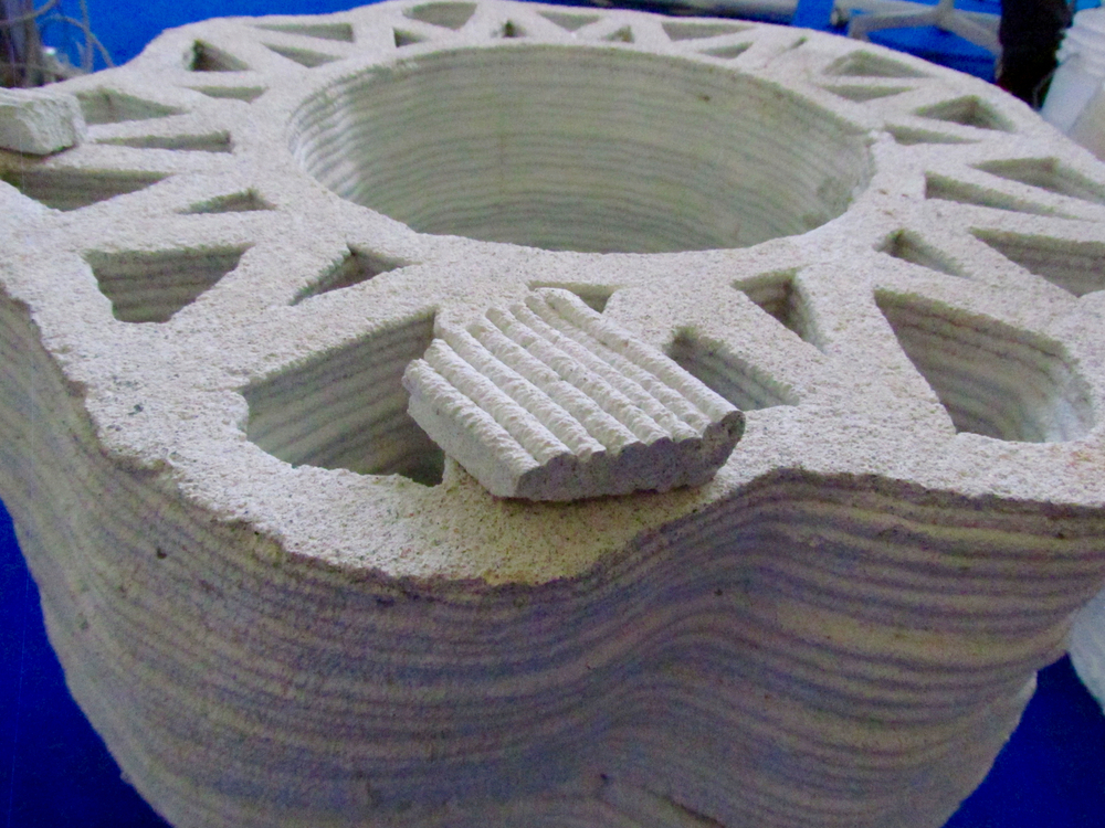 A sample concrete 3D print from the WASP 3 MT