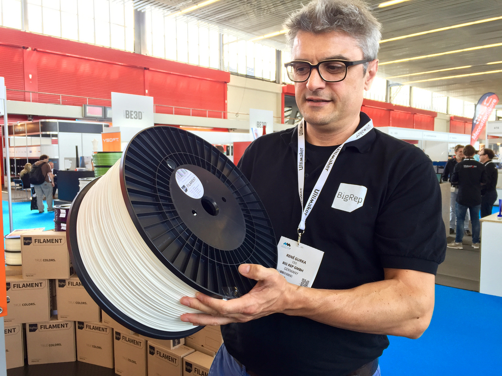 BigRep CEO Rene Gurka with a rather large spool of 3D printer filament