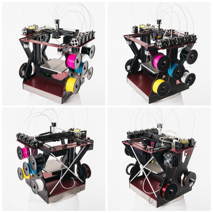 Several views of the RoVa4D 3D printer showing SEVEN input filament spools