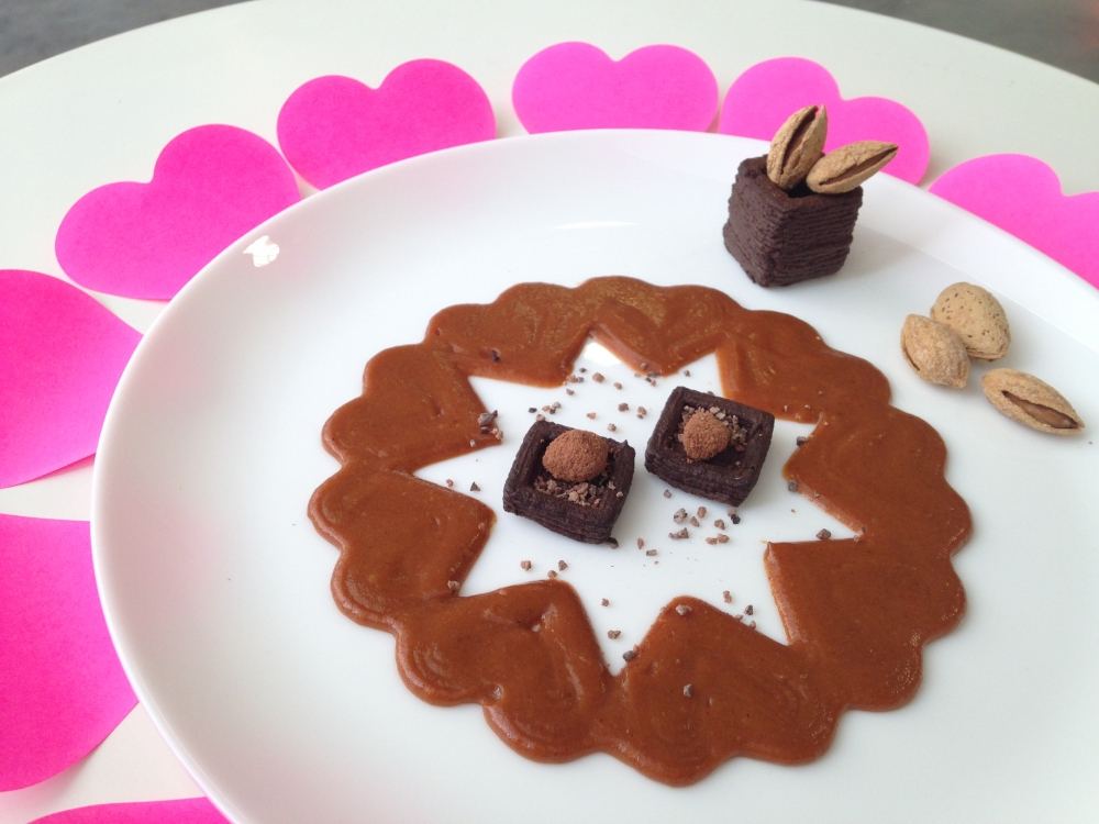 Valentine's Day chocolate mousse and caramel sauce 3D printed on the Foodini