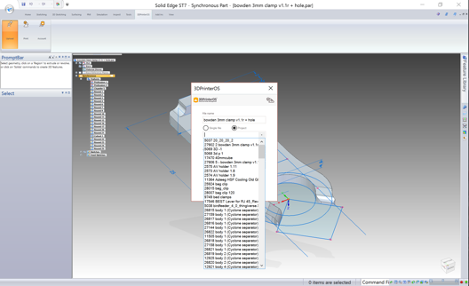3DPrinterOS integrated with the SolidEdge CAD system