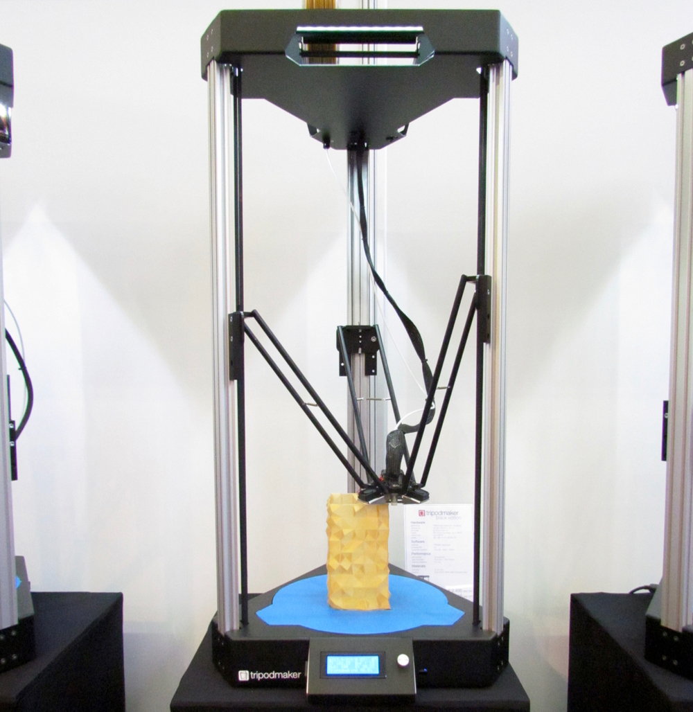The Tripodmaker Black delta-style desktop 3D printer