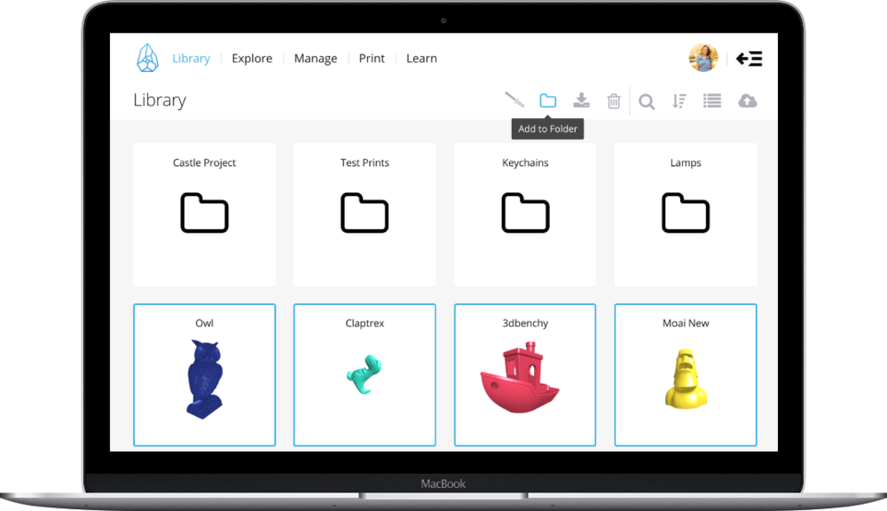 A screenshot of the Formide cloud system for managing 3D printers