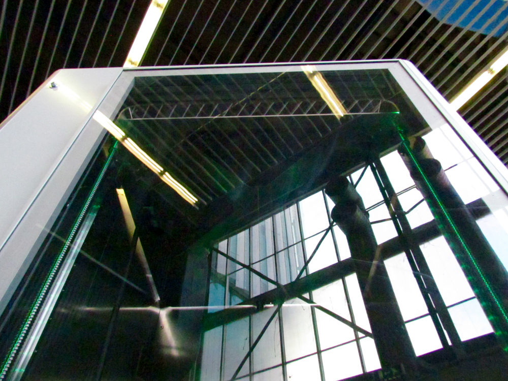 The view looking up towards the print mechanism of the Leapfrog Xcel. Yes, taken from a standing position