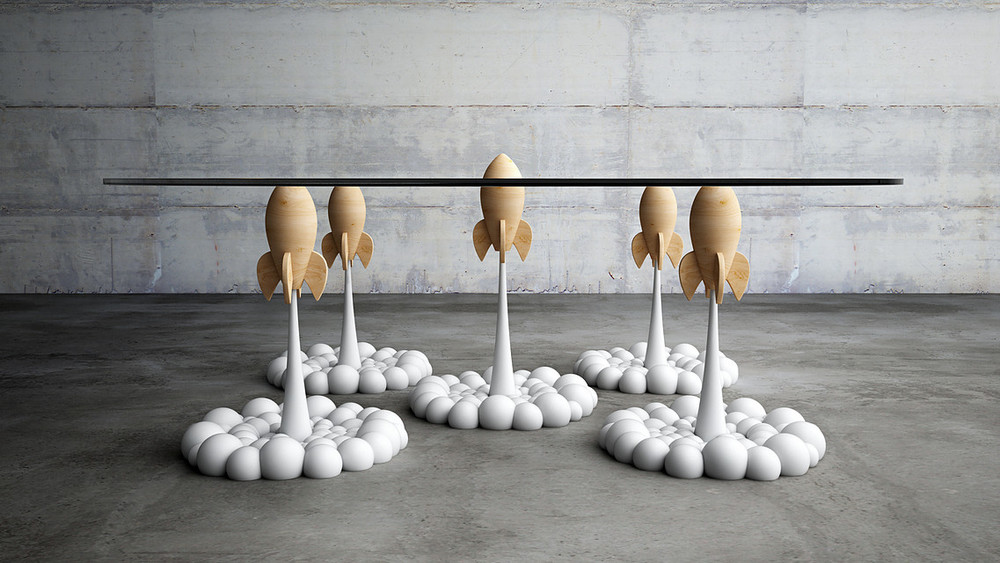 The partially 3D printed Rocket Coffee Table by Stelios Mousarris