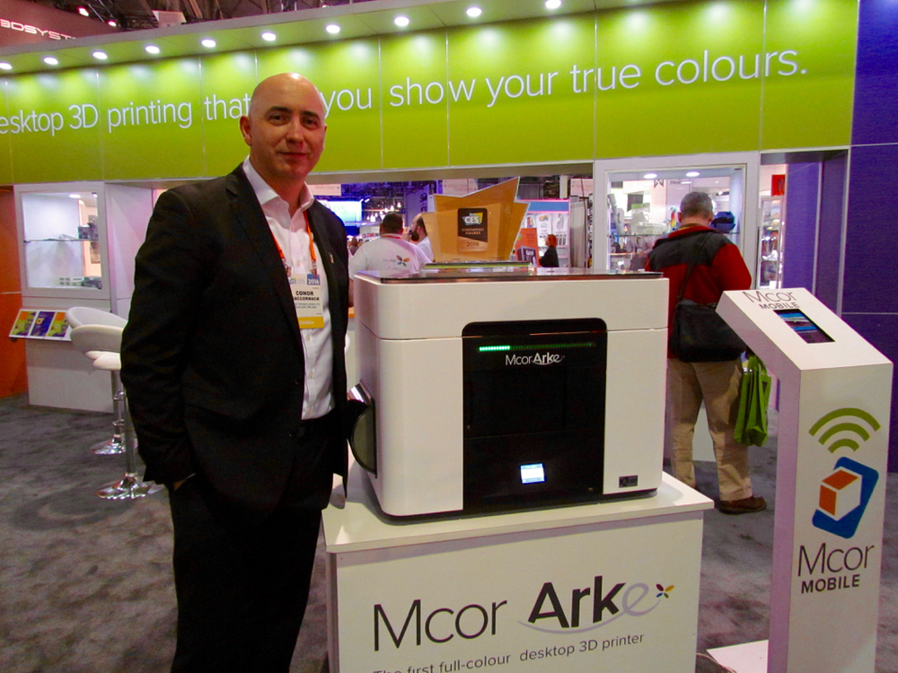 MCOR CEO Conor MacCormack unveiling the Arke, a full-color 3D printer