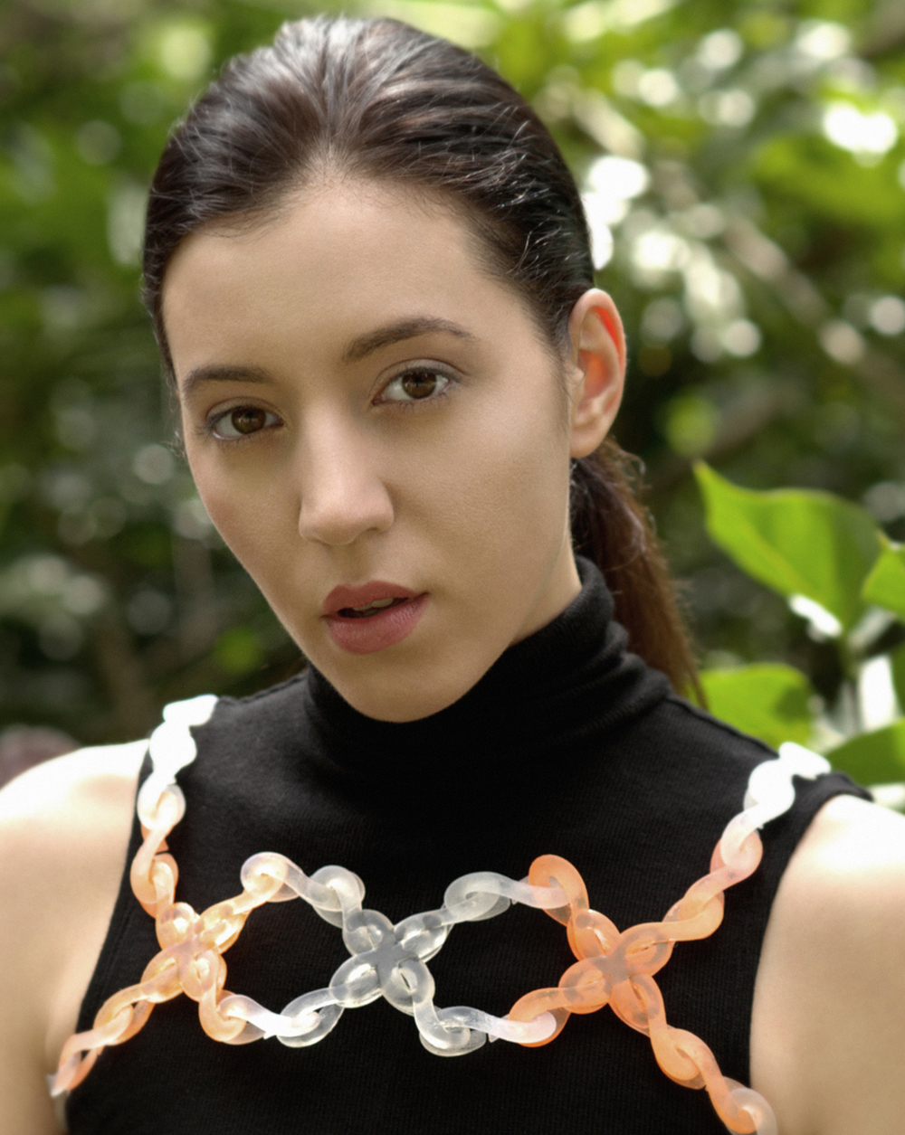 A model wearing a piece made from Knot Knits