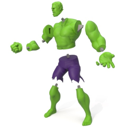 An exploded view of the 3D printed parts for a Hulk model from LayerTrove