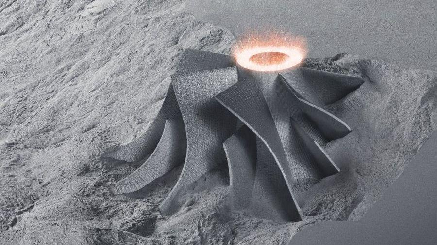 A sample metal object printed in powder