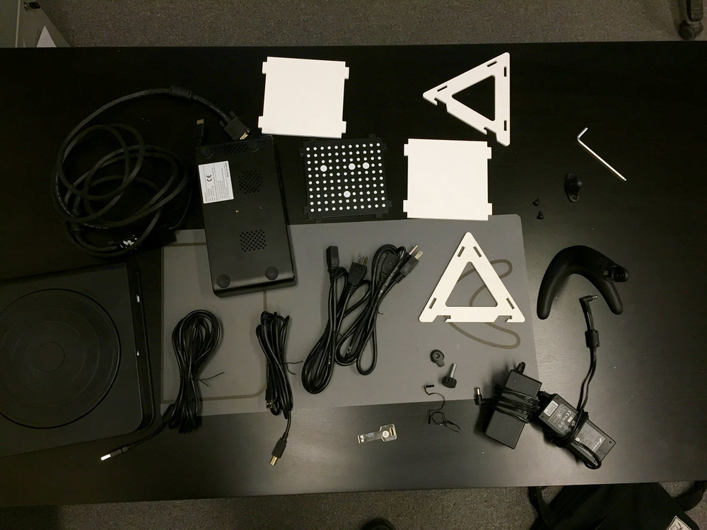 All the many parts included with the Afinia ES360 desktop 3D scanner