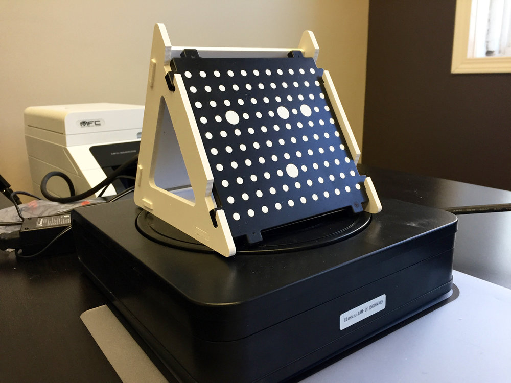 The calibration box used on the Afinia ES360 desktop 3D scanner