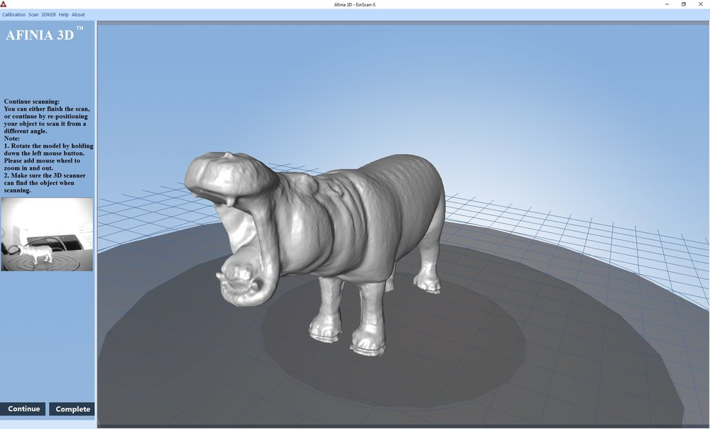 "A very successful ""hippo"" 3D scan done on the Afinia ES360 desktop 3D scanner"