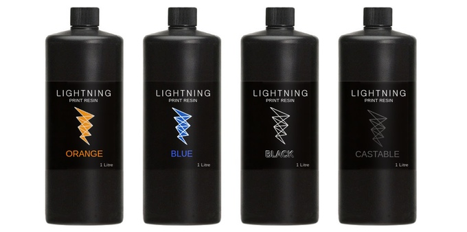 A selection of UV resins available for the LIghtning desktop UV DLP 3D printer