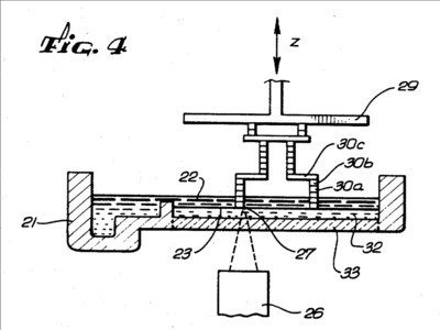 """Fig. 4"" from Chuck Hull's original SLA patent inspired the design of the new Figure 4 3D printing system. (Image courtesy of 3D Systems/USPTO.)"