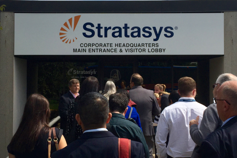 The main entrance at Stratasys HQ