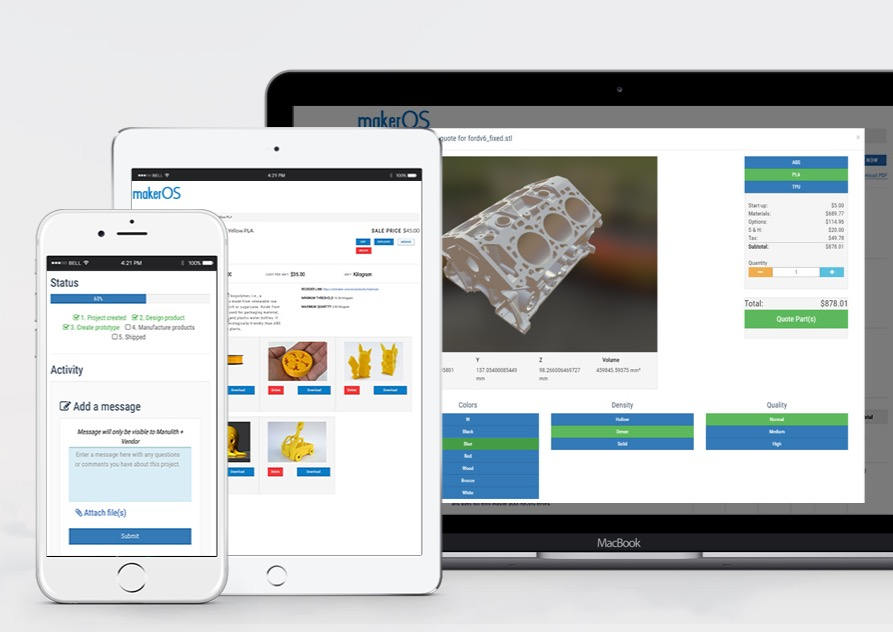 The MakerOS 3D business management service