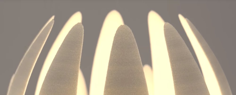 "The 3D printed Lily Lamp's ""teeth"""