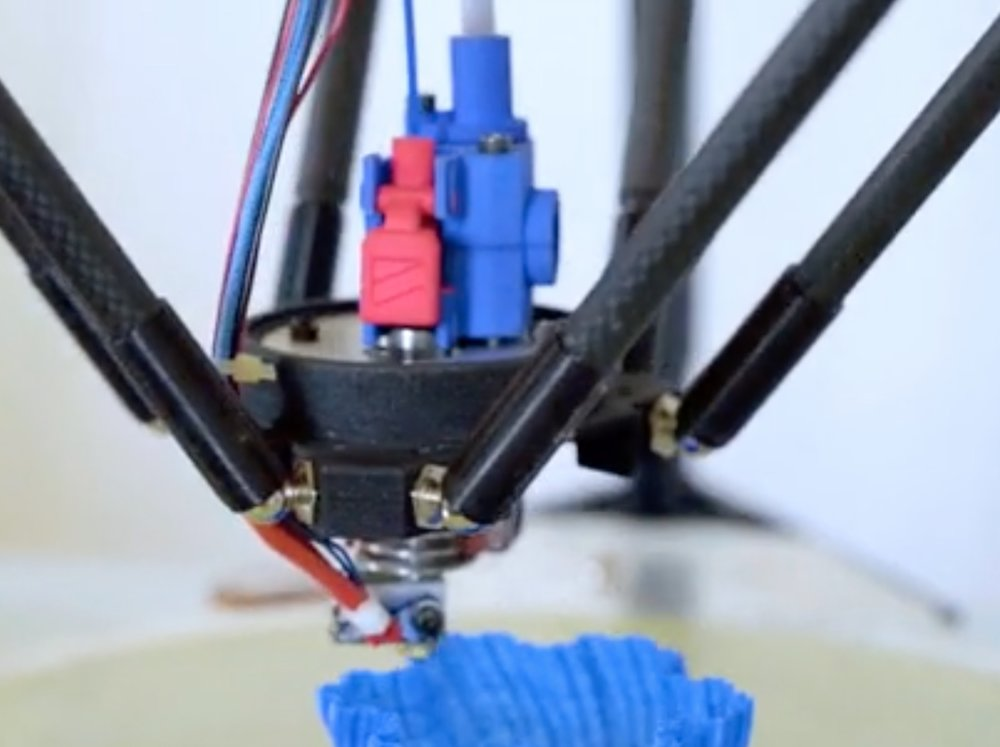 The Zesty Nimble 3D printer extruder in use on a delta-style machine