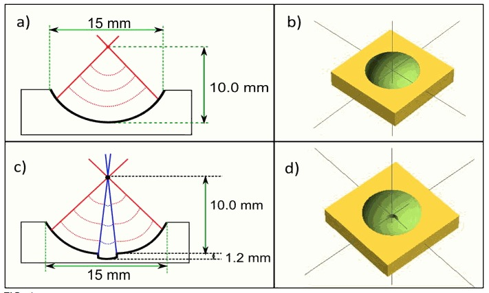 Focusing acoustical waves using specially designed 3D printed glass