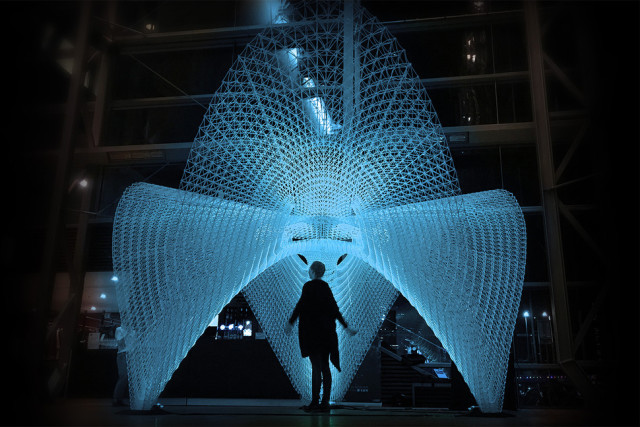 The 5-meter by 5-meter 3D-printed Daedalus Pavilion. (Image courtesy of Ai Build.)