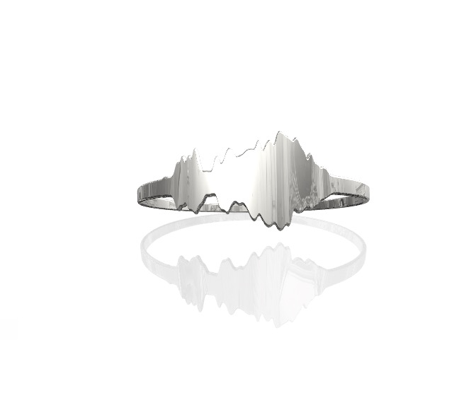 A 3D printed ring in the form of an audio waveform