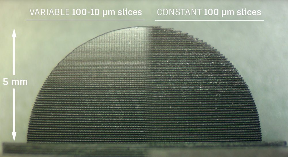 A cross-section of a variably-sliced 3D model compared to normal uniform slicing