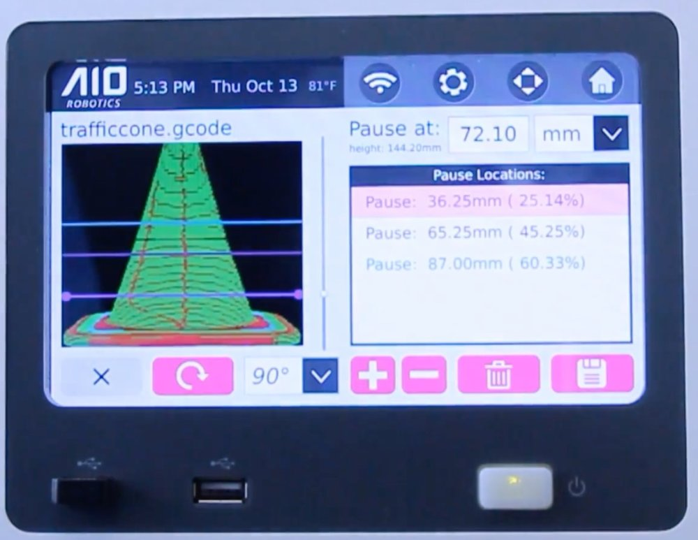 AIO Robotics' pause editor appears on their touch screen