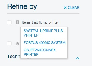 A typical customer profile for use in Stratasys' online store