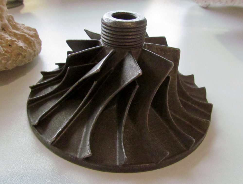 Detail of a metal object cast from a 3D print made from PolyCast material