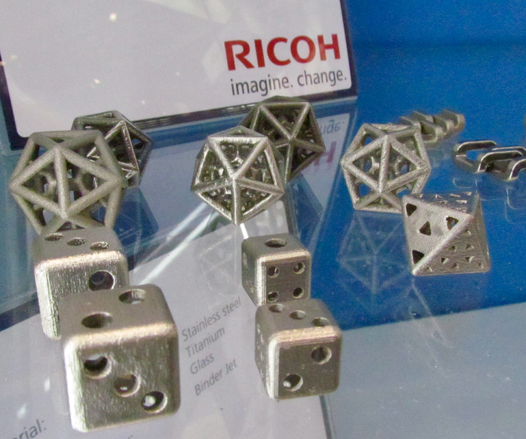 Metal parts 3D printed on a secret Ricoh 3D metal printer in development
