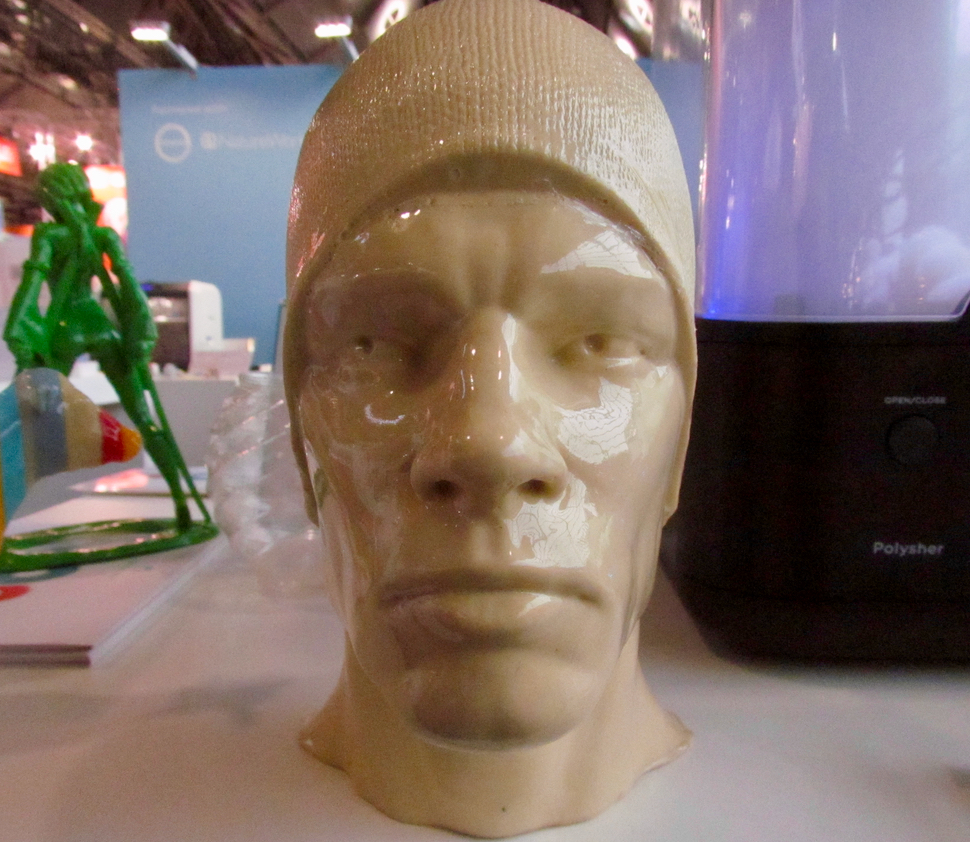 An incredibly smooth head 3D print, finished by Polymaker's PolySher system