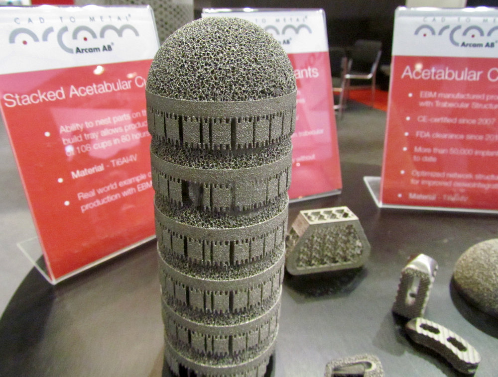 A sample metal 3D print from Arcam