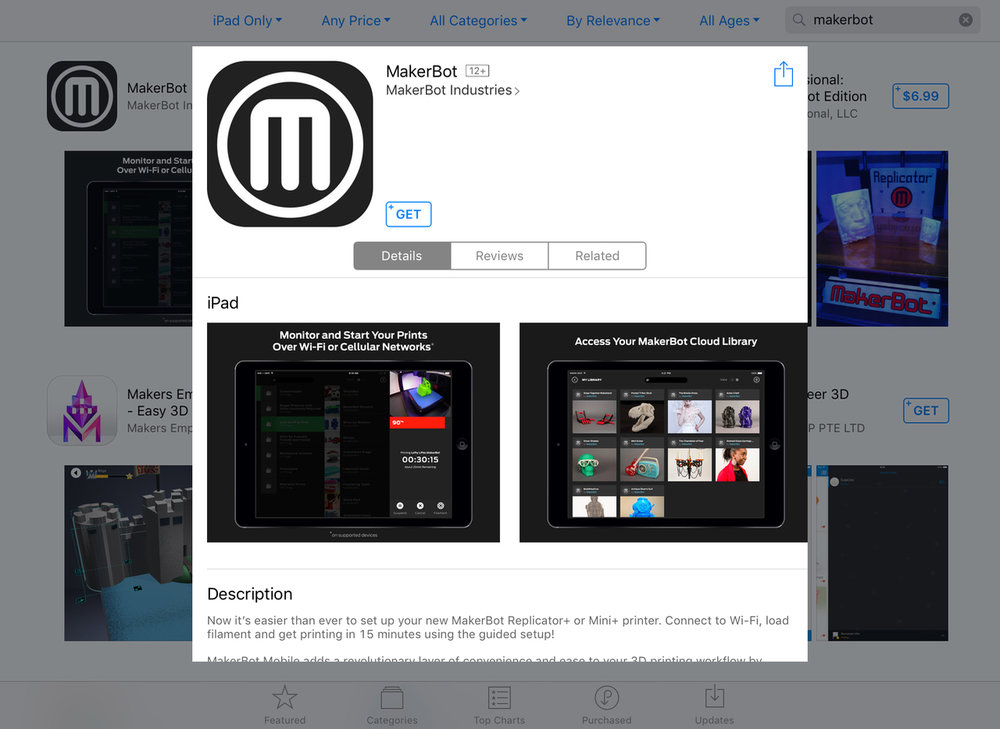 The MakerBot app