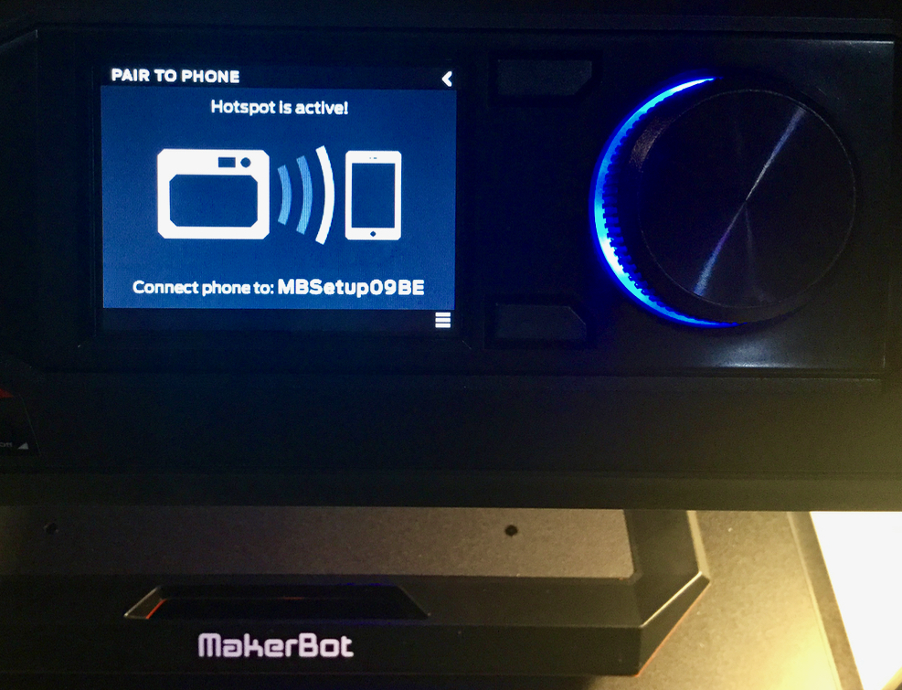 Pairing the MakerBot Replicator+ with your smartphone