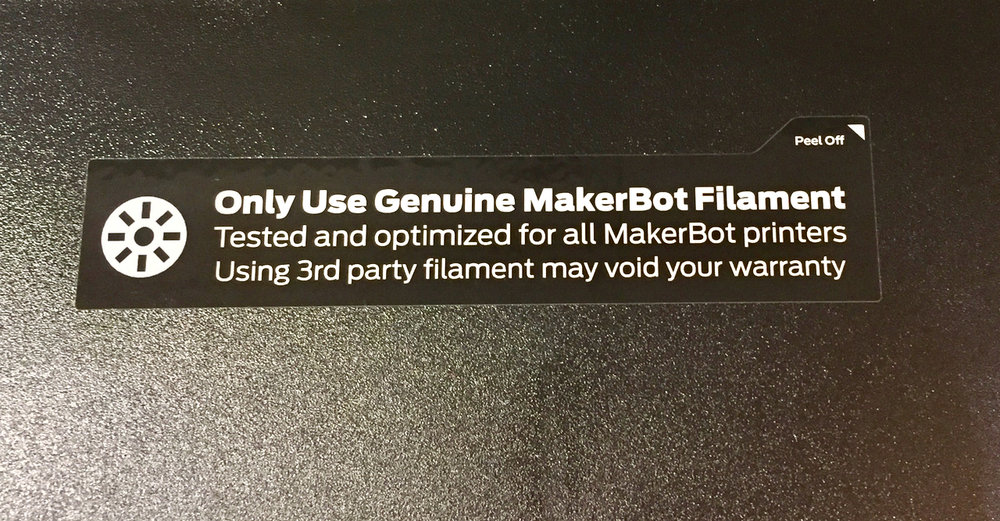 MakerBot's caution regarding filament use