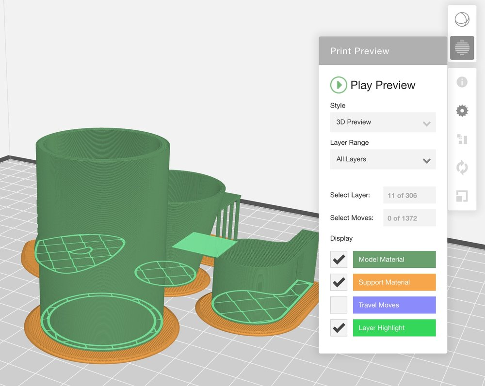 The 3D GCODE view after slicing 3D models in MakerBot Print
