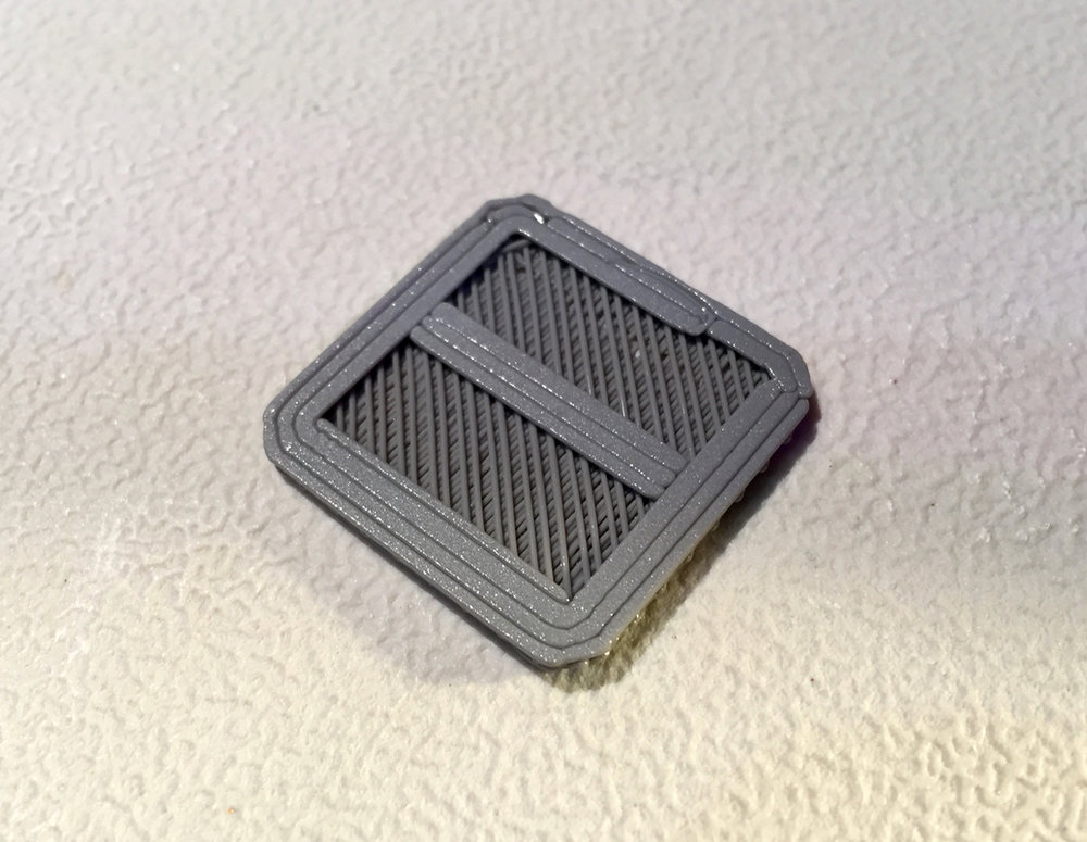 The bottom structure of a raft generated for the MakerBot Replicator+