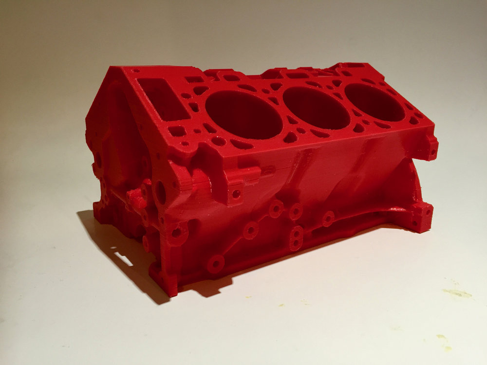 An enormous engine block print made on the MakerBot Replicator+