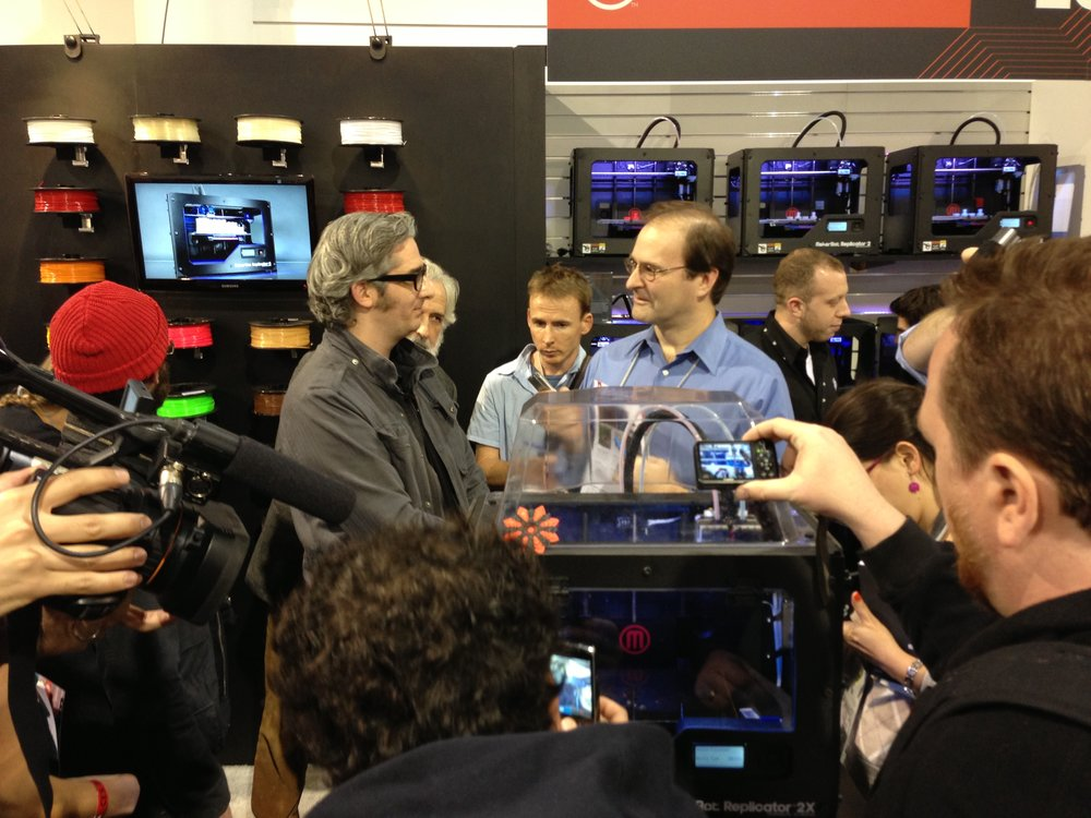 Former MakerBot CEO Bre Pettis announcing the then new Replicator 2X