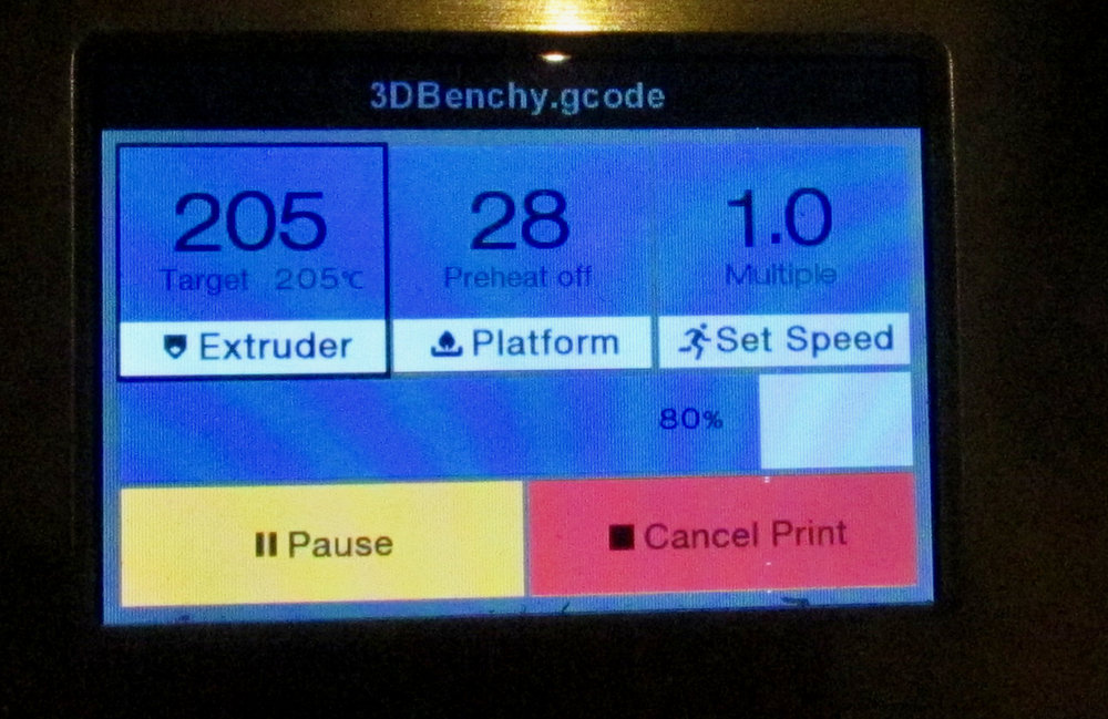 The upgraded Monoprice 3D printer touch control screen