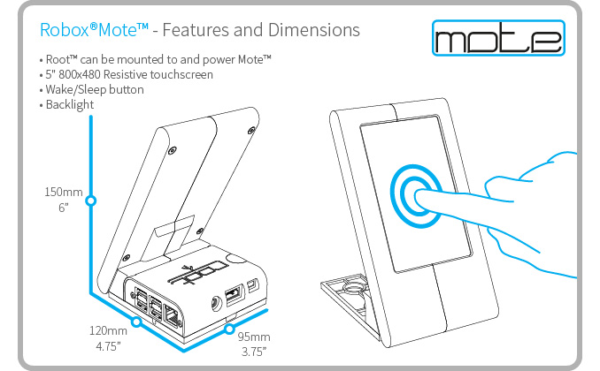 The CEL Mote, a touch screen interface for controlling a CEL Robox 3D printer farm