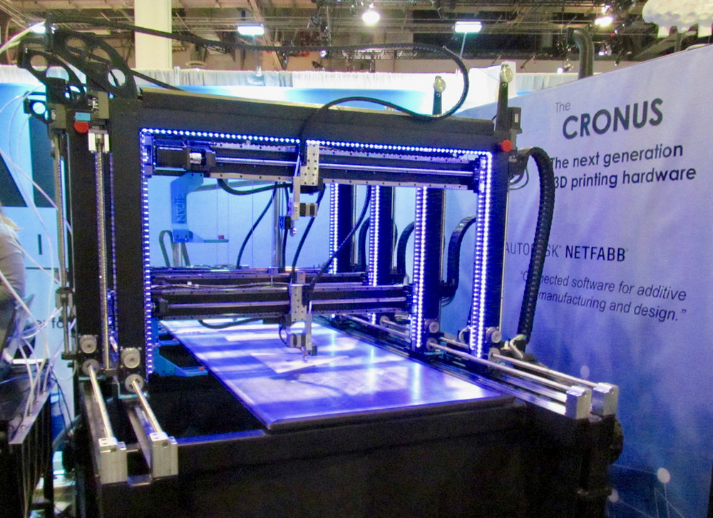 The gigantic Cronus multi-head 3D printer, based on Autodesk's Escher concept