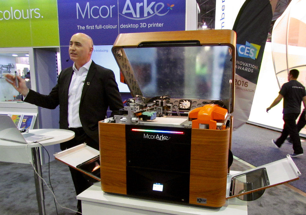 MCOR's Conor MacCormack and the Arke color desktop 3D printer