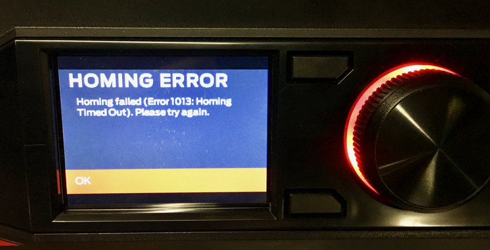 "A ""Homing Error"" detected on the MakerBot Replicator+"